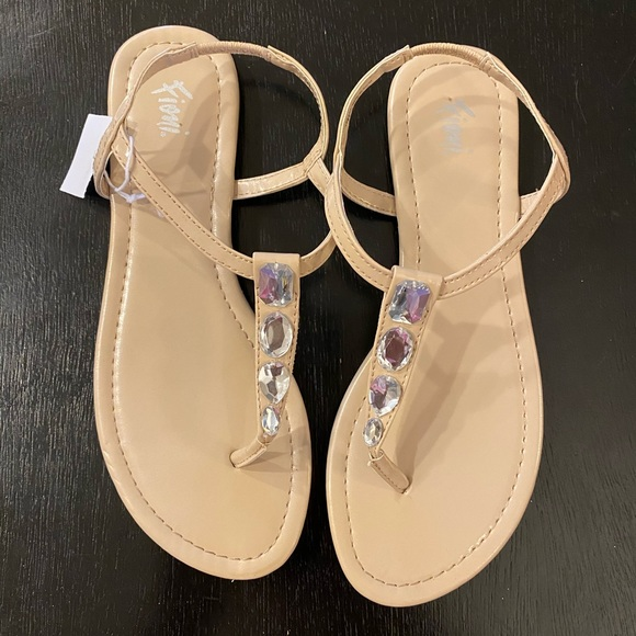 Womens Nude Bling Sandals Size 6 12